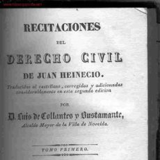 Libros antiguos: RECITACIONES DE DERECHO CIVIL DE HEINECIO, TOMO I. Lote 26153187