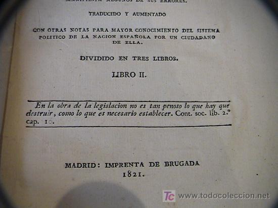 Libros antiguos: SUPLEMENTO AL CONTRATO SOCIAL DE ROUSSEAU APLICABLE A GRANDES NACIONES.IMPRENTA BRUGADA AÑO 1821 - Foto 6 - 3663592