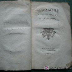 Libros antiguos: RARO MARCHAND TESTAMENT POLITIQUE DE M. DE V 1771. Lote 27445852