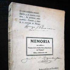 Libros antiguos: MEMORIA QUE PUBLICA EL CENTRO DE LA UNIÓN IBERO-AMERICANA EN VIZCAYA - JULIO DE LAZÚRTEGUI, 1932. Lote 26898805