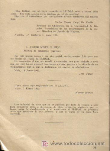 Libros antiguos: LAS ENFERMEDADES DE LOS OJOS. ¨EL IRIDAL ¨. ( COLIRIO). - Foto 2 - 12850902