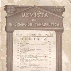 Alte Bücher - REVISTA MÉDICA. INFORMACIÓN TERAPEUTICA. Nº2. FEBRERO DE 1926. AÑO VIII. - 12953195