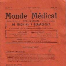 Alte Bücher - REVISTA MÉDICA. MONDE MÉDICAL. AÑO XXIV, 25 DE OCTUBRE DE 1912, Nº 408. - 12435729