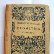 Libros antiguos: LECCIONES ELEMENTALES DE GEOMETRÍA - 1ER GRADO - POR G.M.BRUÑO - 94 PÁGINAS. Lote 25414159