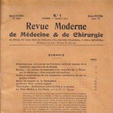 Libros antiguos: REVISTA MÉDICA. REVUE MODERNE DE MEDECINE & DE CHIRURGIE. EDICIÓN FRANCESA. 9º AÑO. Nº 1. ENERO 1912. Lote 12953215