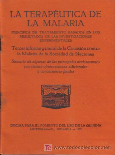 REVISTA MÉDICA. LA TERAPEUTICA DE MALARIA. USO DE LA QUININA; AMSTERDAM- W., HOLANDA, 1933. (Libros Antiguos, Raros y Curiosos - Ciencias, Manuales y Oficios - Otros)