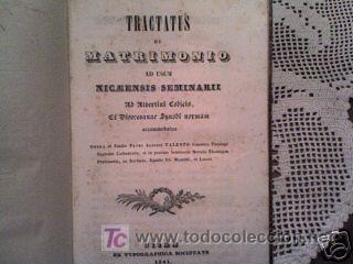 PETRI ALOISII TALENTO TRACTATUS DE MATRIMONIO 1841 (Libros Antiguos, Raros y Curiosos - Ciencias, Manuales y Oficios - Otros)