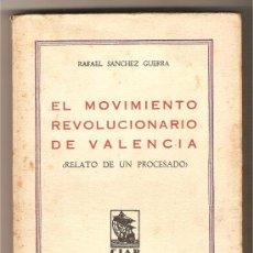 Libros antiguos: EL MOVIMIENTO REVOLUCIONARIO DE VALENCIA (RELATO DE UN PROCESADO) .-RAFAEL SÁNCHEZ GUERRA. Lote 221980582