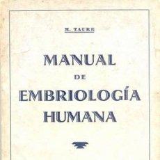 Libros antiguos: 1930 MANUAL DE EMBRIOLOGIA HUMANA. Lote 25153082