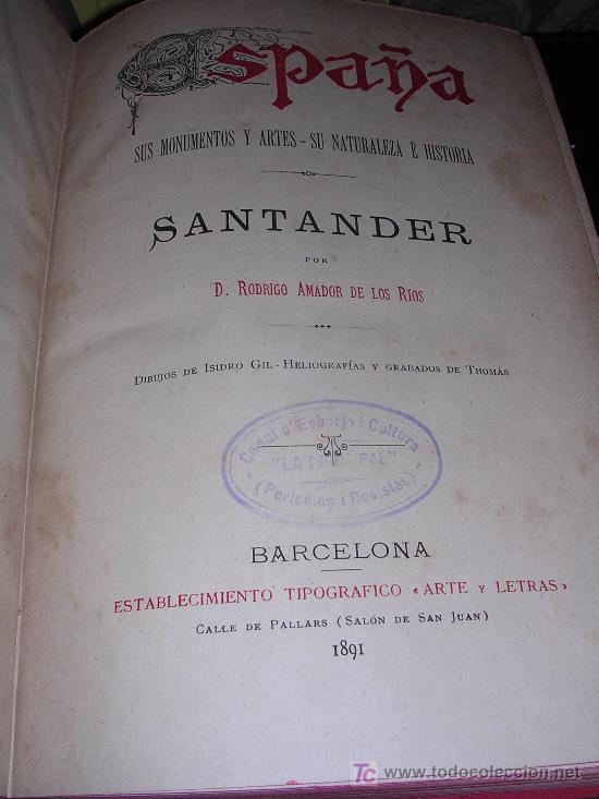 D.RODRIGO AMADOR DE LOS RIOS, SANTANDER (Libros Antiguos, Raros y Curiosos - Historia - Otros)