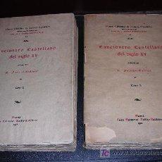 Libros antiguos: R. FOULCHE, DELBOSC, CANCIONERO CASTELLANO DEL SIGLO XV, 2 TOMOS, NUEVA BIBLIOTECA DE AUTORES ESP.. Lote 19495668