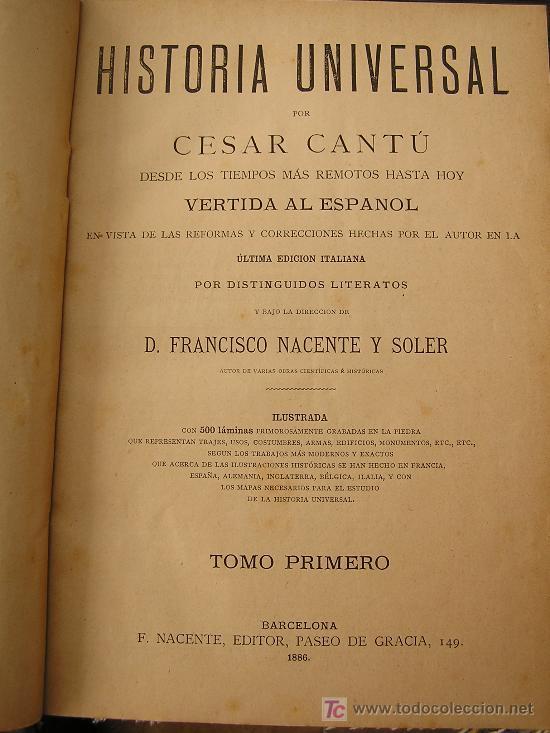 Libros antiguos: HISTORIA UNIVERSAL (CESAR CANTÚ) - Foto 5 - 24734437