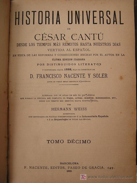 Libros antiguos: HISTORIA UNIVERSAL (CESAR CANTÚ) - Foto 10 - 24734437