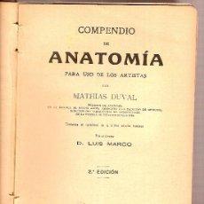 Libros antiguos: COMPENDIO DE ANATOMIA PARA USO DE LOS ARTISTAS / M. DUVAL. MADRID : SAENZ DE JUBERA. 2ª ED.. Lote 26042539