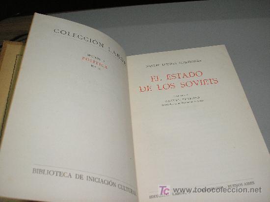 Libros antiguos: EL ESTADO DE LOS SOVIETS (LUDWIG SCHLESINGER) - Foto 2 - 27161342