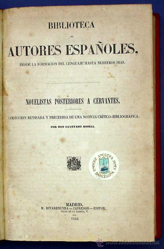 Libros antiguos: BIBLI. DE AUTORES ESPAÑOLES. NOVELISTAS POSTERIORES A CERVANTES. 2 VOL M. RIVADENEYRA, 1864/71. - Foto 3 - 26646229