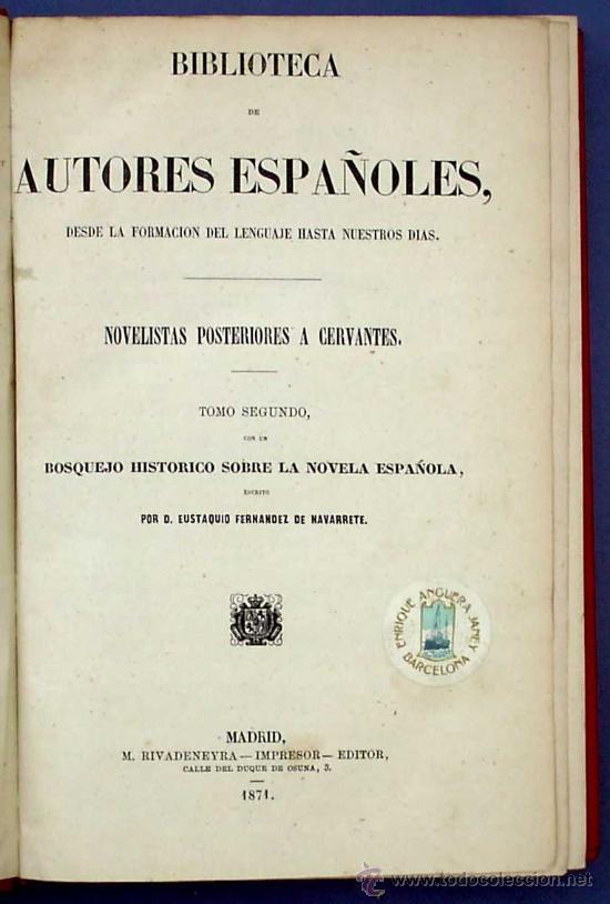 Libros antiguos: BIBLI. DE AUTORES ESPAÑOLES. NOVELISTAS POSTERIORES A CERVANTES. 2 VOL M. RIVADENEYRA, 1864/71. - Foto 7 - 26646229