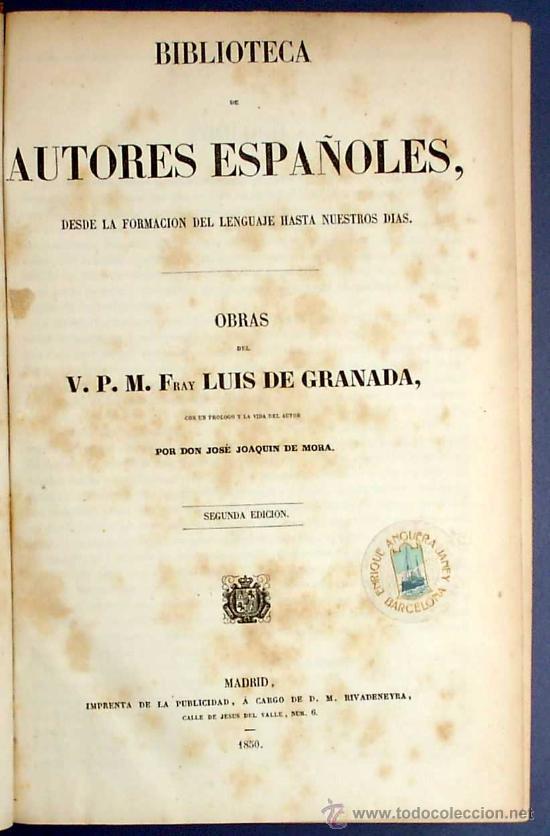 Libros antiguos: BIBL. DE AUTORES ESPAÑOLES. OBRAS DE FRAY LUIS DE GRANADA. 3 TOMOS. M. RIVADENEYRA ED, 1850/51/52. - Foto 3 - 23603962