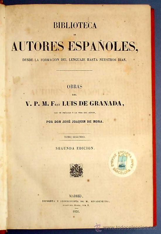Libros antiguos: BIBL. DE AUTORES ESPAÑOLES. OBRAS DE FRAY LUIS DE GRANADA. 3 TOMOS. M. RIVADENEYRA ED, 1850/51/52. - Foto 5 - 23603962