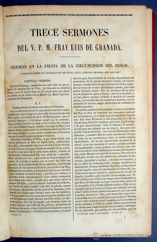 Libros antiguos: BIBL. DE AUTORES ESPAÑOLES. OBRAS DE FRAY LUIS DE GRANADA. 3 TOMOS. M. RIVADENEYRA ED, 1850/51/52. - Foto 8 - 23603962