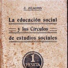 Libros antiguos: LA EDUCACIÓN SOCIAL Y LOS CÍRCULO DE ESTUDIOS SOCIALES.E.BEAUPIN. ED.SATURNINO CALLEJA, 207 PÁGINAS.. Lote 14492769
