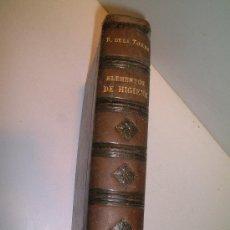 LIBRO DE ELEMENTOS DE HIGIENE R.DE LA TORREL.S.M. 1928. TAPAS DURAS 15 X 21,5 CM.