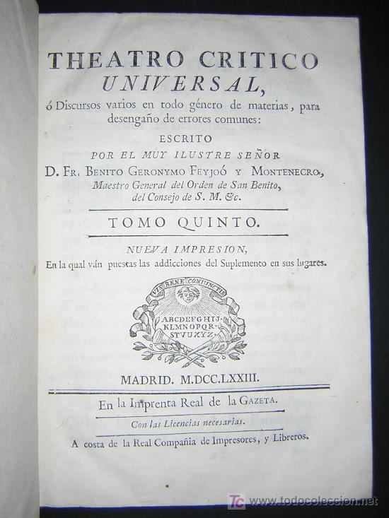 Libros antiguos: 1773 - FEIJOO - TEATRO CRITICO UNIVERSAL - TOMO V - Ilustración española - Foto 3 - 23667755