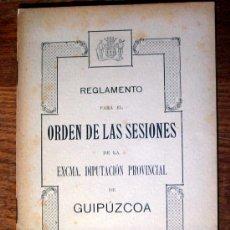 Libros antiguos: REGLAMENTO PARA EL ORDEN DE LAS SESIONES DE LA EXCMA.DIPUTACION PROVINCIAL DE GUIPUZCOA 1915. Lote 26118978