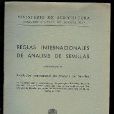 Libros antiguos - REGLAS INTERNACIONALES DE ANALISIS DE SEMILLAS. 1933. 7 X 10 CM. 36 PAGS. - 9471564