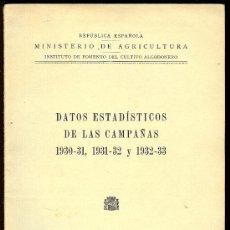 Libros antiguos: DATOS ESTADISTICOS DE LAS CAMPAÑAS 1930 - 31, 1931 - 32 Y 1932 - 33. 1934. 43 PAGS. 7 X 10 CM.. Lote 9471598