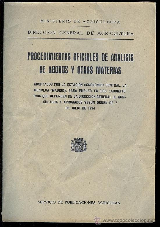 PROCEDIMIENTOS OFICIALES DE ANALISIS DE ABONOS Y OTRAS MATERIAS. 26 PAG. 7 X 10 CM. (Libros Antiguos, Raros y Curiosos - Ciencias, Manuales y Oficios - Otros)