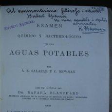 Libros antiguos: EXAMEN QUIMICO DE LAS AGUAS POTABLES,SALAZAR,NEWMAN,LONDRES.1890,VALPARAISO,CHILE.HIDROLOGIA,AGUAS. Lote 26424123