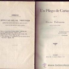 Libros antiguos: UN PLIEGO DE CARTAS. DR. THEBUSSEM.. Lote 21988566