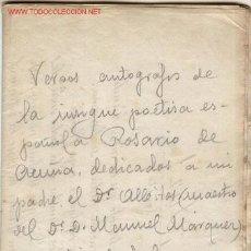 Libros antiguos: 5 SONETOS AUTOGRAFOS E INÉDITOS DE LA INSIGNE POETISA Y FEMINISTA ROSARIO DE ACUÑA.. Lote 2296186