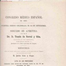 Libros antiguos: PRIMERA SESIÓN CELEBRADA EL 24 DE SEPTIEMBRE: DISCURSO DE APERTURA... POR EL DR. D. TOMÁS . Lote 26267003
