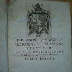 Libros antiguos: TRACTATUS UNICUS DE INCOMPATIBILITATE ET REPUGNANTIA POSSIDENDI PLURES MAIORATUS... 1755. Lote 23522340