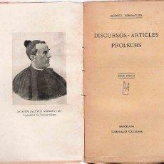Libros antiguos: DISCURSOS ARTICLES - PRÒLECHS / J. VERDAGUER. Lote 25056559