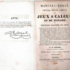 Libros antiguos: ANTIGUO LIBRO DE JUEGOS DE CÁLCULO Y AZAR- 1840. Lote 23619399