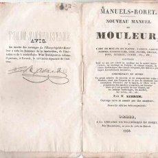 Libros antiguos: ANTIGUO MANUAL DE MOLDEADO - 1838 * FRANCÉS *. Lote 23619396