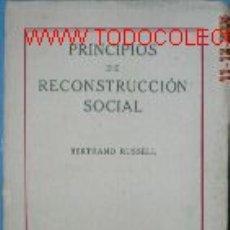 Libros antiguos: PRINCIPIOS DE RECONSTRUCCION SOCIAL. AÑO 1921.. Lote 2283310