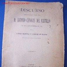 Libros antiguos: DISCURSO DE DON ANTONIO CÁNOVAS DEL CASTILLO (1890). Lote 27291571