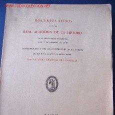 Libros antiguos: DISCURSOS LEÍDOS POR DON ANTONIO CÁNOVAS (AÑO 1947). Lote 26825190