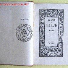 Libros antiguos: LLIBRE DELS SET SAVIS DE ROMA. Lote 27274761