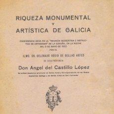 Libros antiguos: ANGEL DEL CASTILLO. RIQUEZA MONUMENTAL Y ARTÍSTICA DE GALICIA. LA CORUÑA, 1921. Lote 24966252