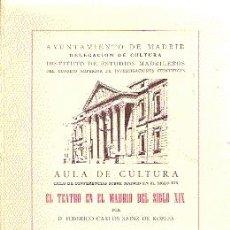 Libros antiguos: EL TEATRO EN EL MADRID DEL SIGLO XIX /// FEDERICO CARLOS SAINZ DE ROBLES .. Lote 25094113