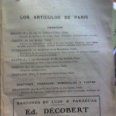 Libros antiguos: ABANICO -CEPILLOS-PARAGUAS-BASTONES-PLUMAS.ARTICULOS DE PARIS- 1920. Lote 27299498