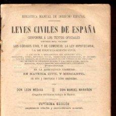 Libros antiguos: 1916. LEYES CIVILES DE ESPAÑA. POR MEDINA Y MARAÑON.. Lote 27416066