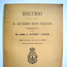Libros antiguos: DISCURSO EDUARDO DATO IRADIER, 1906. Lote 26121177