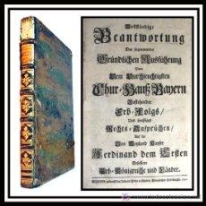 Libros antiguos: LA SUCESION BAVARA DESPUES DE FERNANDO I - 1742 - CON LETRA GOTICA -. Lote 26698241