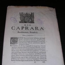Libros antiguos: R.P.D.CAPRARA-BARCHINONEN.BENEFICIJ. LUNAE 3 IUNIJ 1702-BARCHINONAE EX.TYP.RAPHAELIS FIGUERO ANNO. Lote 12405095